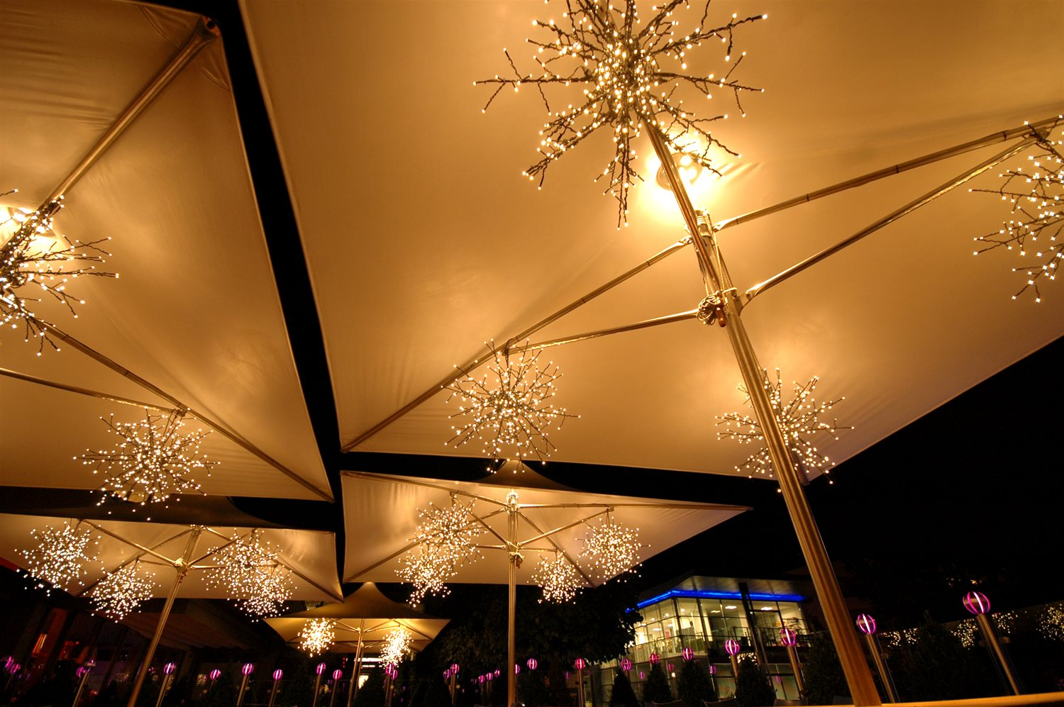 LED Outdoor/Indoor Snowflake 32 Blue White Example