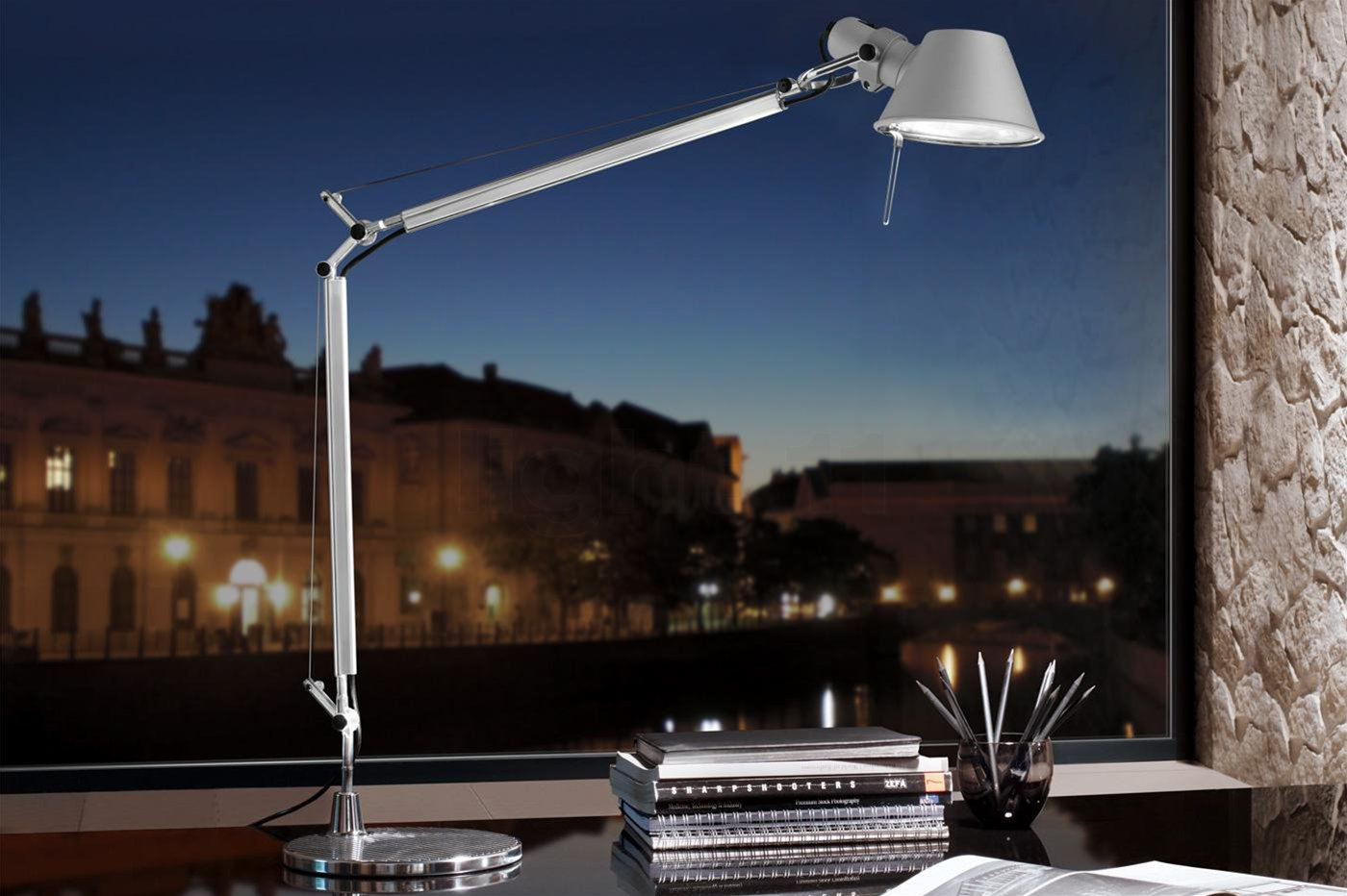 Tolomeo Large Arm & Clamp Silver 100W Example