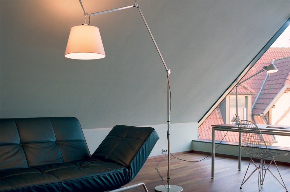 Tolomeo Terra Mini Floor Lamp 100W Silver Example