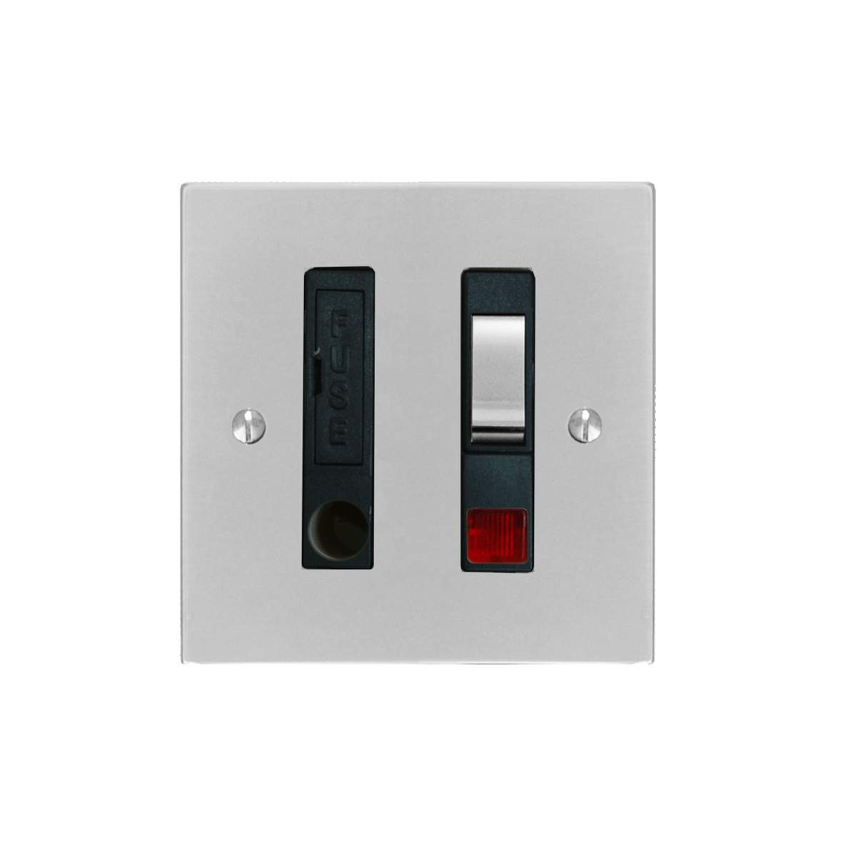 Fuse Spur 1 Gang 13 Amp Switch Fuse Neon Spur Polished Stainless Steel