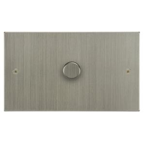 Dimmer Switch 1 gang 1000 watt 2 way double plate Satin Nickel