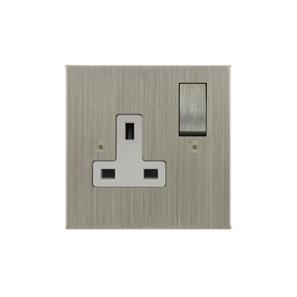 Wall Socket 1 gang 13 amp switched socket outlet Satin Nickel