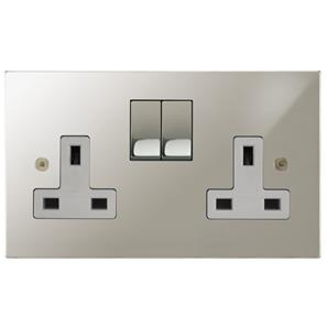 Wall Socket 2 gang 13 amp switched socket outlet Polished Nickel