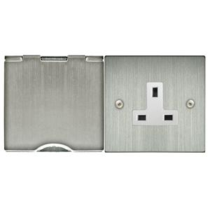 Floor Socket 2 gang 13 amp unswitched floor socket Satin Nickel