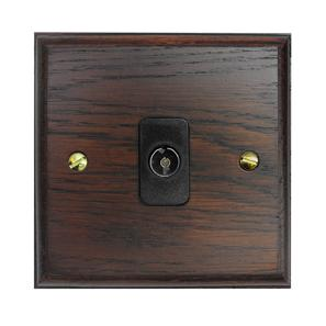 TV Socket 1 gang non-isolated television co-axial Black Insert / Dark Oak