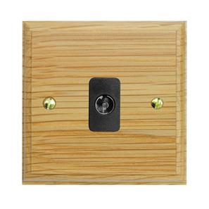 TV Socket 1 gang non-isolated television co-axial Antique Brass / Light Oak