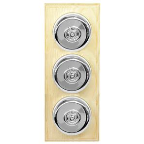 Dolly Switch 3 gang 2 way Polished Chrome / Ash