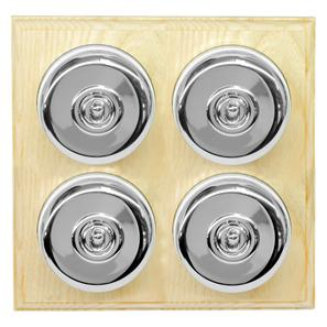Dolly Switch 4 gang 2 way Polished Chrome / Ash
