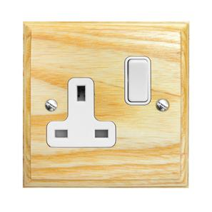 Wall Socket 1 gang 13 amp switch socket outlet White Insert / Ash