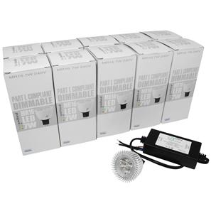 10 x MR16 LED & Driver 7W 400lm (=50W) Dimmable 15° 3000K Warm White