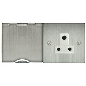 Floor Socket 1 gang 2 amp unswitched floor socket Satin Nickel