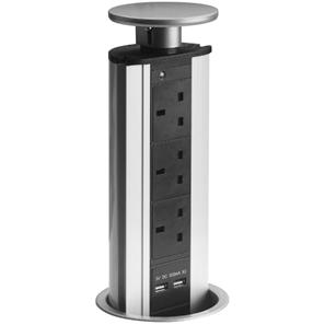Pop-Up Socket - With USB 240V 13A Silver