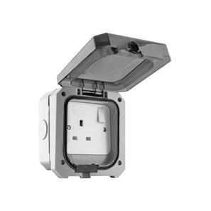 Weatherproof 13A Switched Socket 1 Gang Grey
