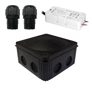 Waterproof Junction Box Kit 8 Way 12V Black 10W