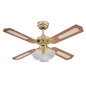 Princess Ceiling Fan Brass Oak Cane/Mahogany 1050mm 3 x 60W