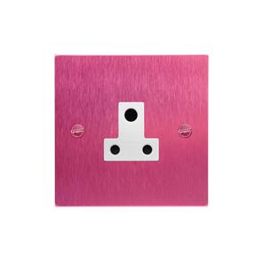 Light Socket 1 gang 5 amp unswitched socket outlet Pink Aluminium