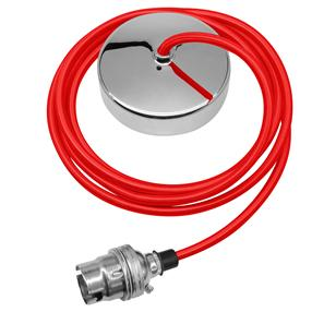 Dome Pendant Kit 2m Cable 100W Red / Chrome