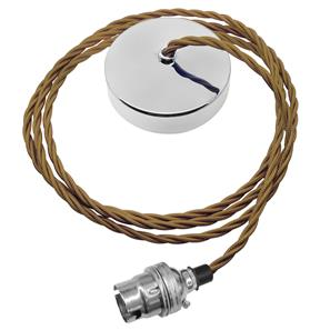 Dome Pendant Kit 2m Triple Twisted Cable 100W Old Gold / Chrome
