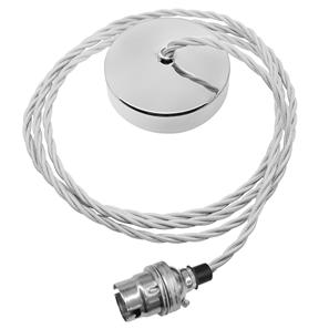 Dome Pendant Kit 2m Triple Twisted Cable 100W Silver / Chrome