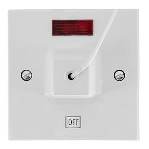 45amp Shower Pull Cord Ceiling Switch DP Neon White 45A