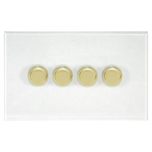 Dimmer Switch 4 gang dimmer switch 250 watt 2 way Polished Brass / Clear Perpsex
