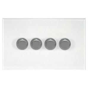 Dimmer Switch 4 gang dimmer switch 250 watt 2 way Satin Stainless Steel / Clear Perspex