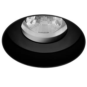 Trimless Round Fire Rated Fixed Clear Glass Downlight IP55 240V Black 50W