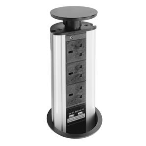Pop-Up Socket - With USB 240V 13A Black