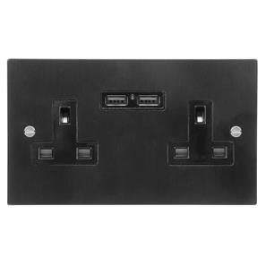 2 Gang Wall Socket Switch / USB Charger 13 amp unswitched socket + USB outlet Satin Black Aluminium