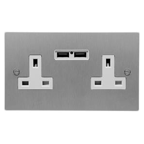 2 Gang Wall Socket Switch / USB Charger 13 amp unswitched socket + USB outlet Satin Aluminium