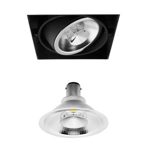 Grid Trimless Single Reality AR70 LED & Driver 8W Dimmable Warm White (2700K)  24° Black