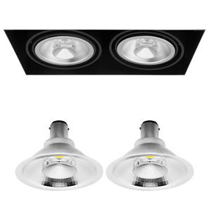 Grid Trimless Double Reality AR70 LED & Driver 8W Dimmable Warm White (2700K)  24° Black