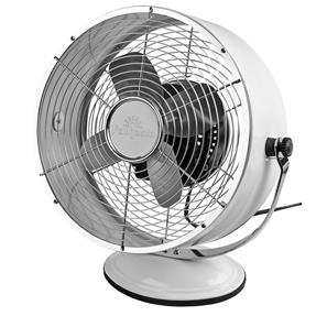 Retro Desk Fan Gloss White Aluminium