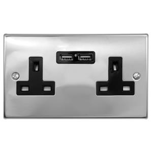 2 Gang Wall Socket Switch / USB Charger 2 gang 13 double socket outlet with USB Polished Stainless
