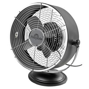 Retro Desk Fan Matt Black Aluminium