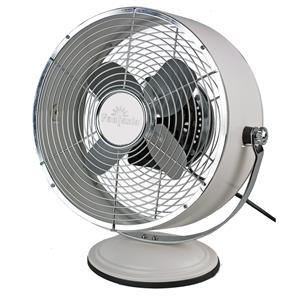 Retro Desk Fan Cream Aluminium