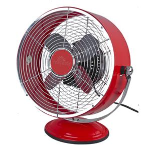 Retro Desk Fan Red Aluminium