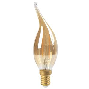LED Bent tip Amber Candle Lamp E14 CV4 2W 2700K Warm White