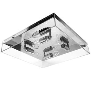 Square Quad Clear Glass Ceiling Light E14 240V Clear Glass 4 x 40W