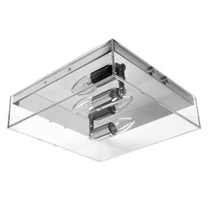 Square Double Clear Glass Ceiling Light E14 240V Clear Glass 2 x 40W