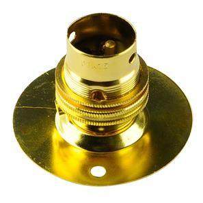 Screw Fix Unswitched Lamp Holder 65mm Brass BC / B22