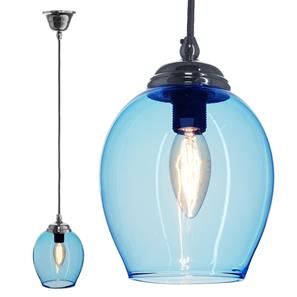 Polla Glass Pendant  40W Baby Blue / Chrome