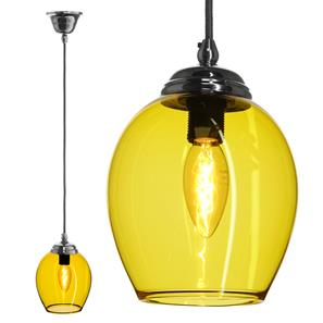 Polla Glass Pendant  40W Yellow / Chrome