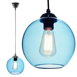 Modica Glass Pendant  60W Baby Blue / Chrome