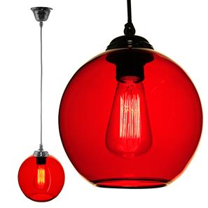 Modica Glass Pendant  60W Rouge Red / Chrome