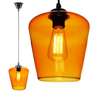 Sorento Glass Pendant  60W Orange / Chrome