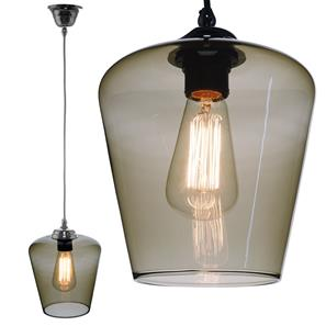 Sorento Glass Pendant  60W Smoke Fume / Chrome