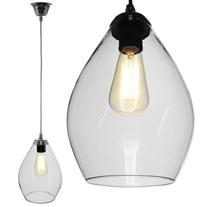 Novara Glass Pendant  60W Clear / Chrome