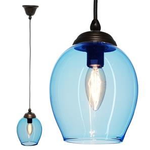 Polla Glass Pendant  40W Baby Blue / Antique Bronze