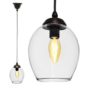 Polla Glass Pendant  40W Clear / Antique Bronze